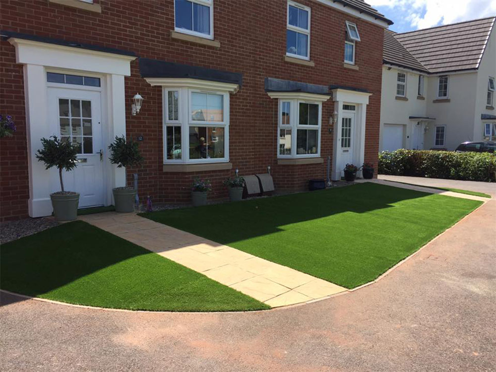Artificial lawns for two adjoining properties in Cullompton