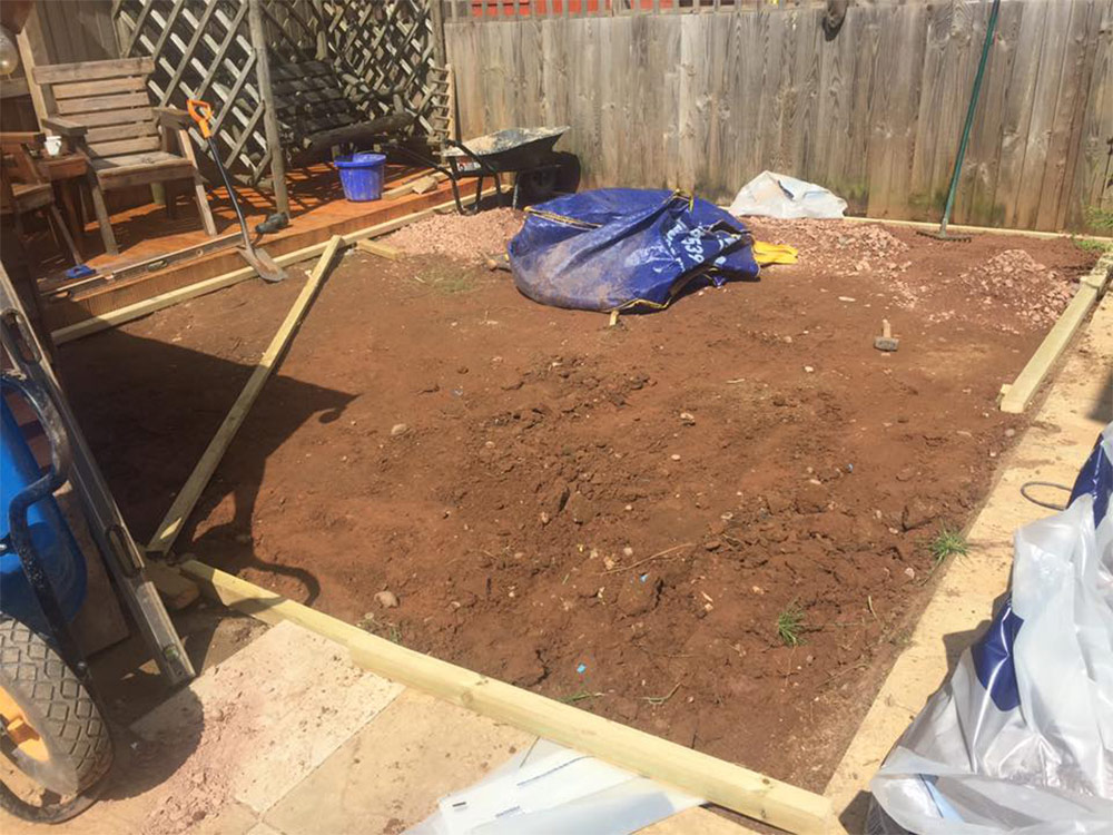 Preparing the ground for a back garden in Cranbrook