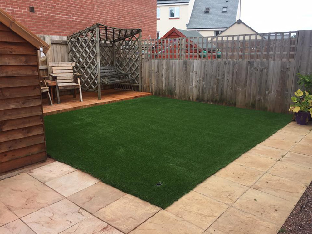 Finished artificial grass area at a newly built home in Cranbrook