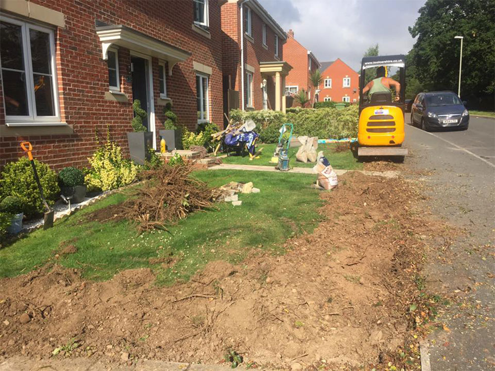 Readying this Exeter front garden for its new artificial lawn