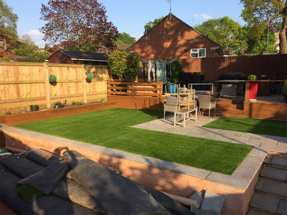 A transformed garden in Sidmouth featuring our artificial turf