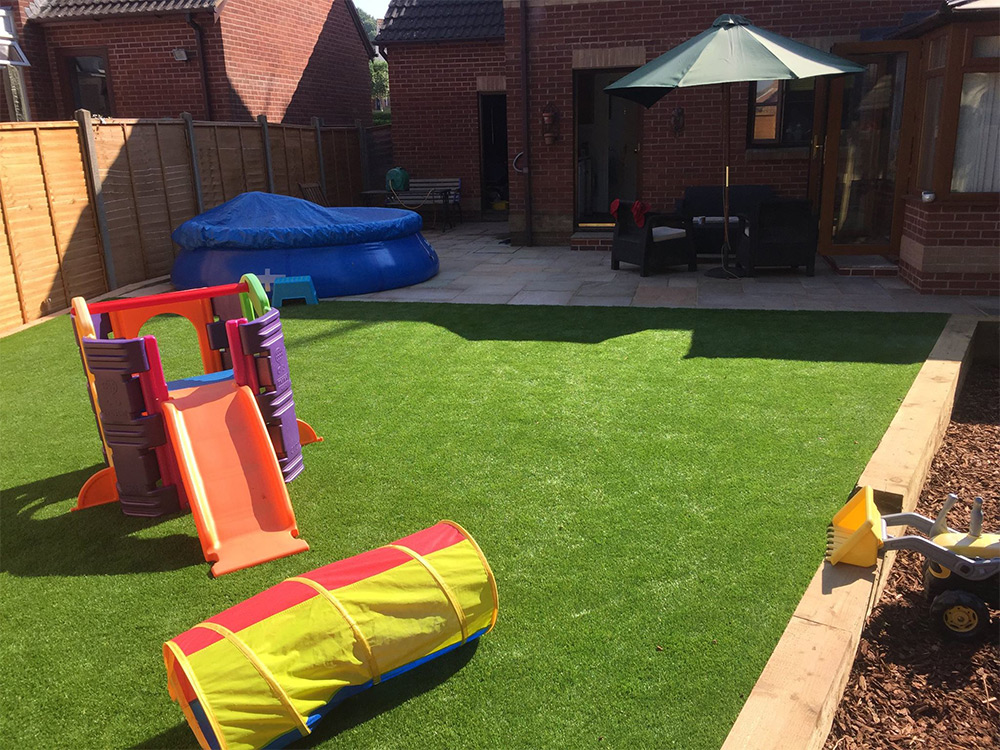 Main artificial lawn showing large amount of turf used