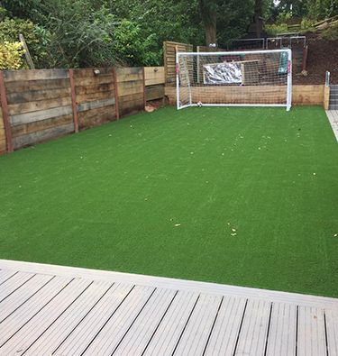 Garden makeover with large artificially turfed area