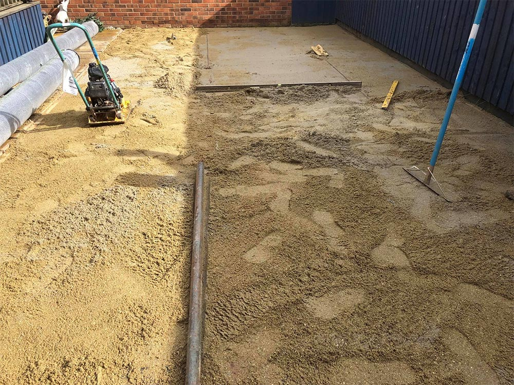 Prepping the ground for a new lawn in Exeter