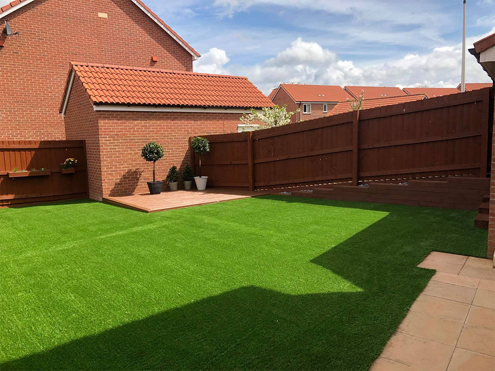 The finished expanse of artificial lawn for a new build in Cranbrook