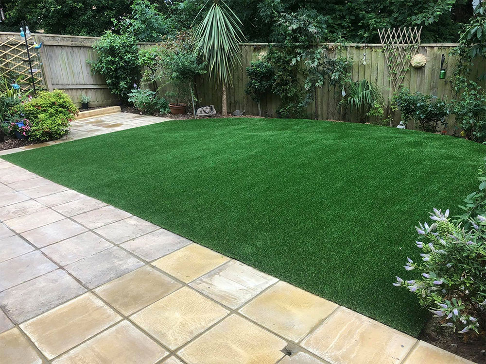 New grass and paving in Exmouth, East Devon