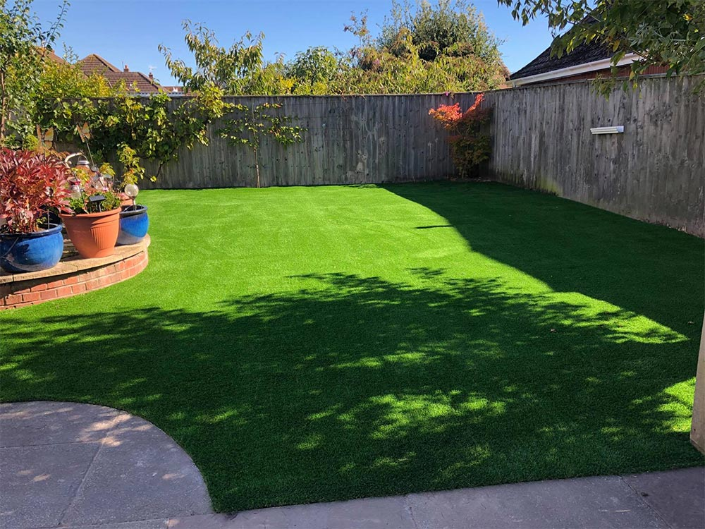 A large, curved artificial lawn in Exmouth